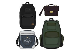 Set of 4 men bags. Vector