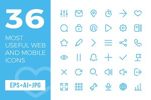 36 Most Useful Web and Mobile Icons