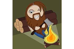 Funny angry lumberjack. Vector