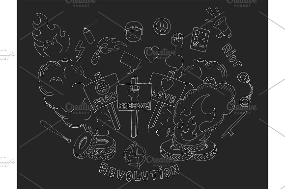 Protest symbols. Vector - Illustrations