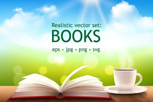 Books realistic vector set