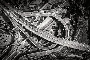 Aerial view of highway interchange. South Bridge. Kiev, Ukraine.
