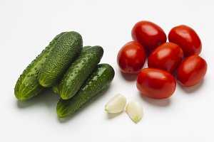 Fresh vegetables on a white background