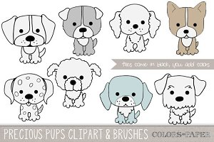 Precious Pups Clipart and Brushes
