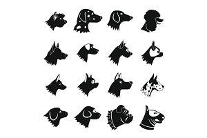 Dog Icons set, simple style