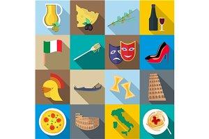 Italia icons set, flat style