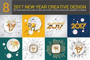 Set 2017 New Year Creative Vector