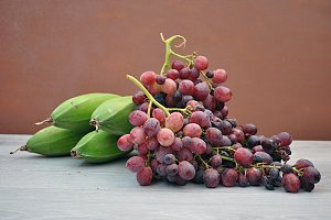 plantain and red grapes