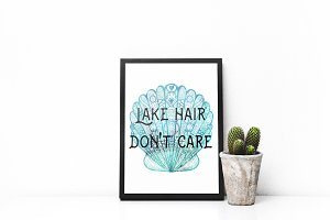 Wall art: Lake hair don't care print