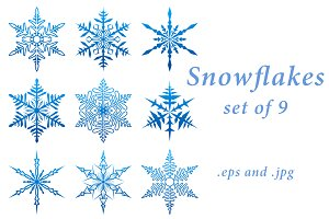 Set of blue openwork snowflakes