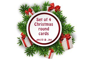 Christmas round cards templates set