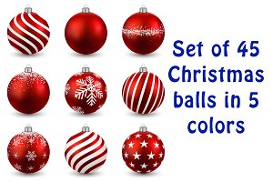 Set of Christmas balls in 5 colors
