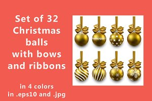 Christmas balls set with satin bows