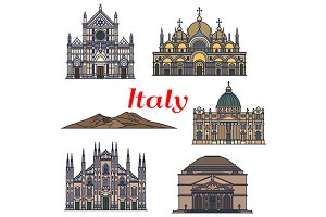 Sightseeings and buildings of Italy