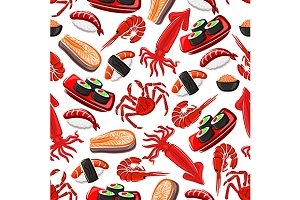 Seafood seamless pattern background