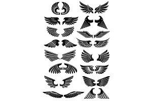 Heraldic black wings set