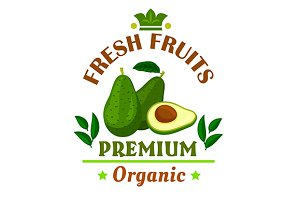 Green avocado fruits emblem