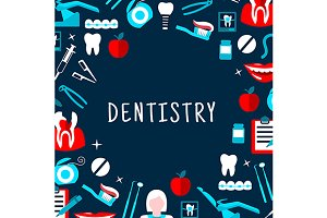 Dentistry banner with icons