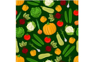 Farm vegetables seamless pattern