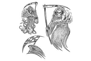 Death with scythe sketches