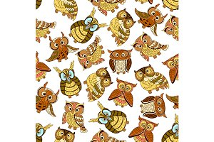 Owl seamless pattern background
