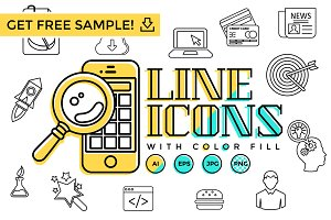 Line Icons With Color Fill