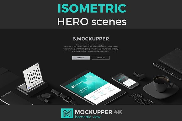 Download Hero scenes isometric view Mockups