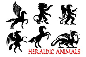 Heraldic ancient animals icons