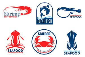 Seafood vector icons