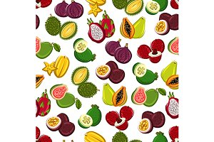 Exotic fruits seamless pattern