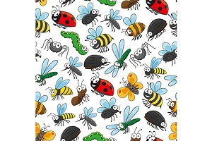 Bugs and insects seamless pattern