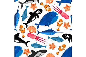 Sealife seamless pattern