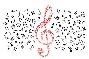 Red treble clef with musical notes