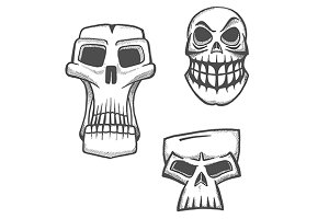 Skull sketch icons set