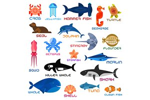 Flat icons of sea and ocean animals
