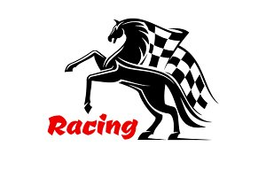 Horse race icon with checkered flag