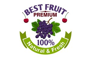 Natural grape berries emblem