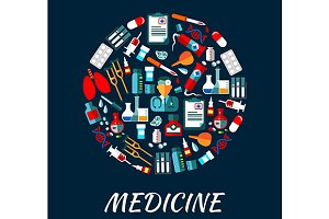 Medicine symbols infographics