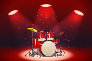 Bright red drum set