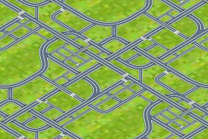 Roads on grass, isometric pattern