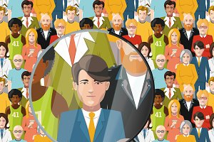 Men in crowd, flat illustration
