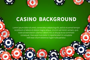 Red and blue casino chips on green