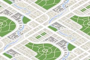 City in isometric view, pattern