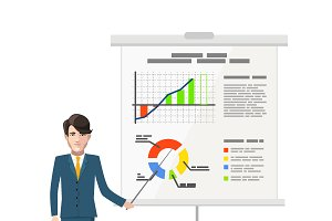 Businessman pointing on the chart