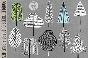 Doodle Trees Clipart, Brushes-Stamps
