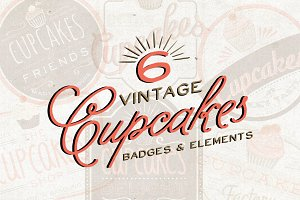 Six Vintage Cupcake Badge