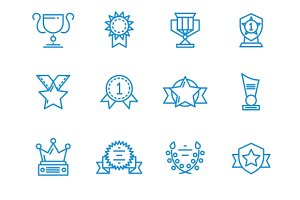 Prizes, trophy, awards outline icons