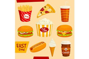 Cartoon fast food icons