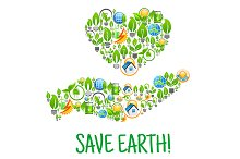Save earth concept with hand heart