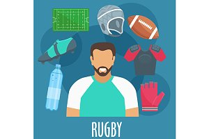 Rugby sport icons and equipment